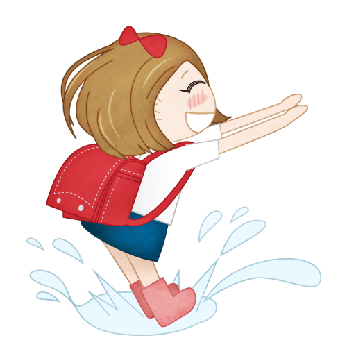 梅雨に時期に水たまりで遊ぶ女の子の無料イラスト