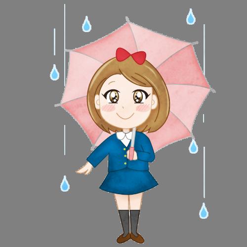 梅雨雨の日に傘をさす女の子のイラスト
