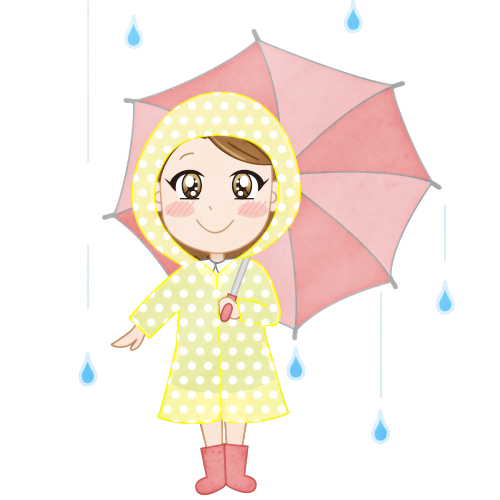 梅雨雨の日にレインコートを着て傘をさす女の子のイラスト