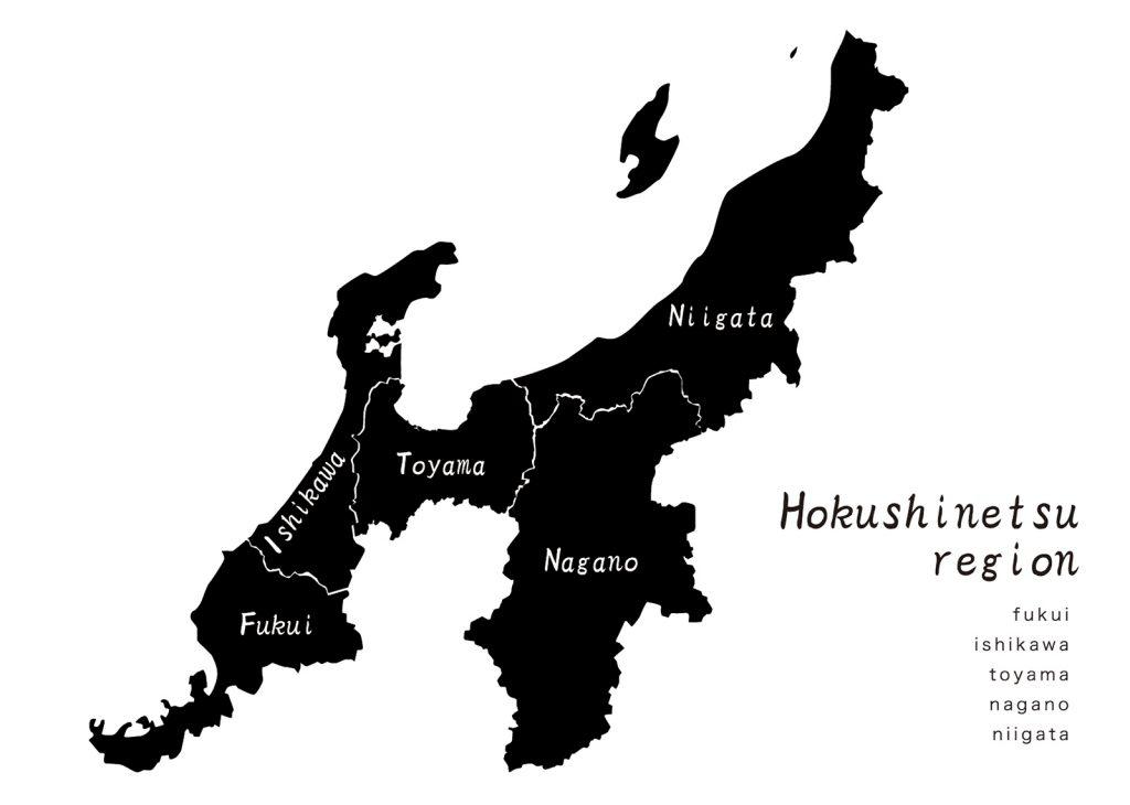 北信越hokushinetsu Regionの地図地形のイラスト