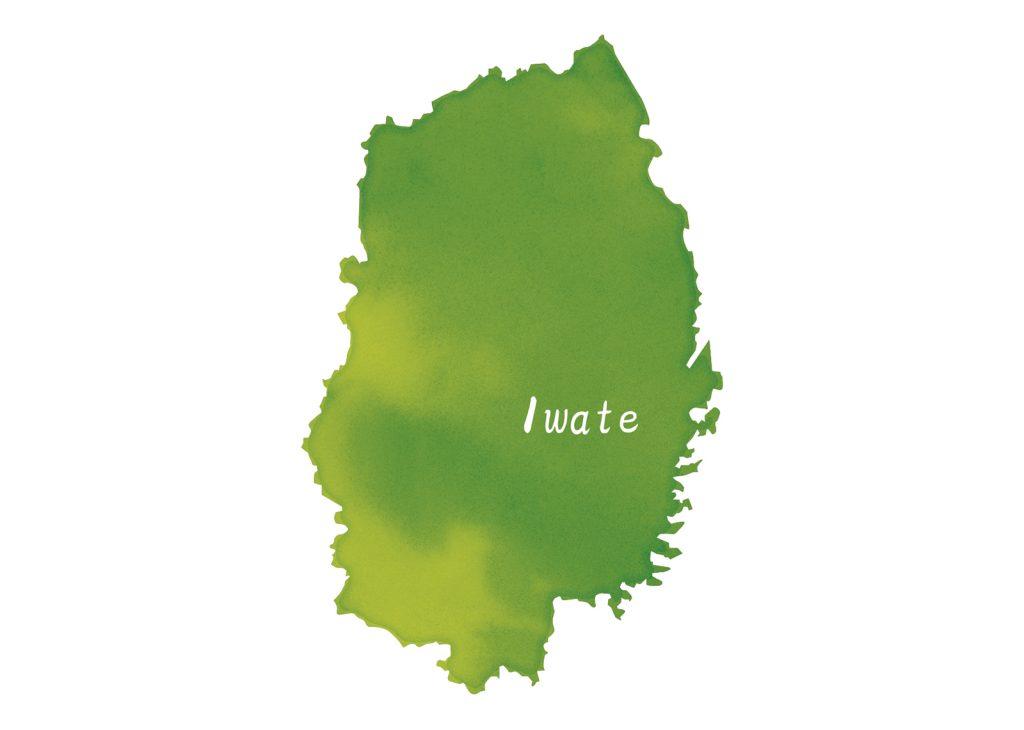 岩手県iwate Kenの地図地形のイラスト
