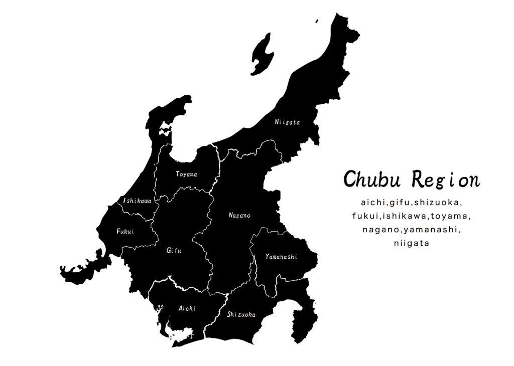 中部地方の地図地形の無料イラスト素材白黒